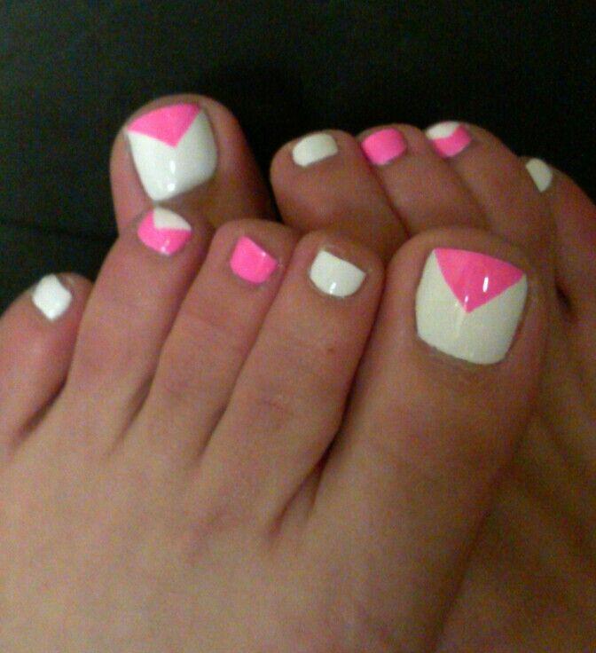 White and hot pink toe nails - Nail art - Nail design - Pedicure