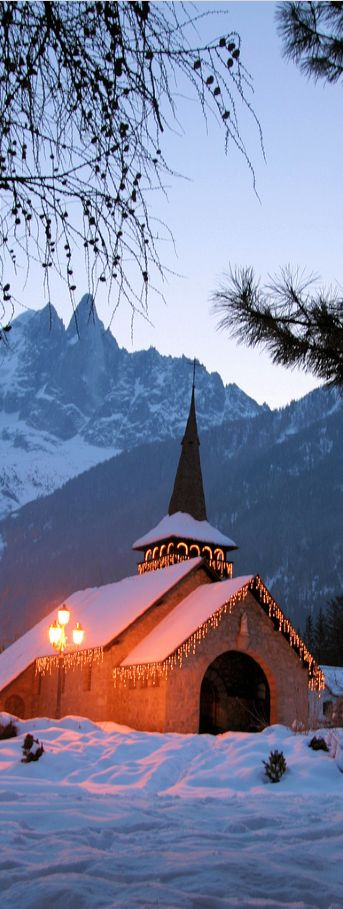 Christmas Church in Chamonix, France