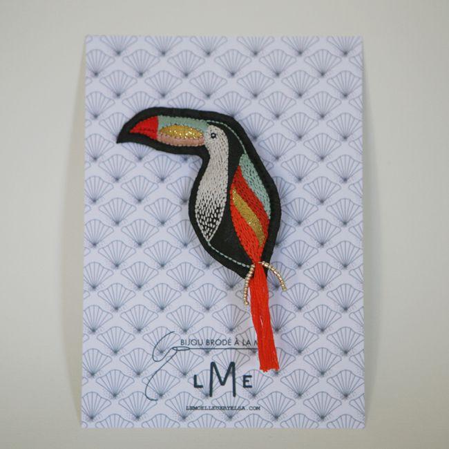"""Les broches """"Toucan"""" sont dispo sur la boutique du Moëlleux !! https://www.etsy.com/fr/shop/lemoelleuxbyelsa?ref=hdr_shop_menu  #broche #brochetextile #bijoumoderne #fêtedesmères #cadeau #toucan"""