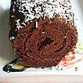 Gâteau roulé au chocolat et à la confiture de framboise