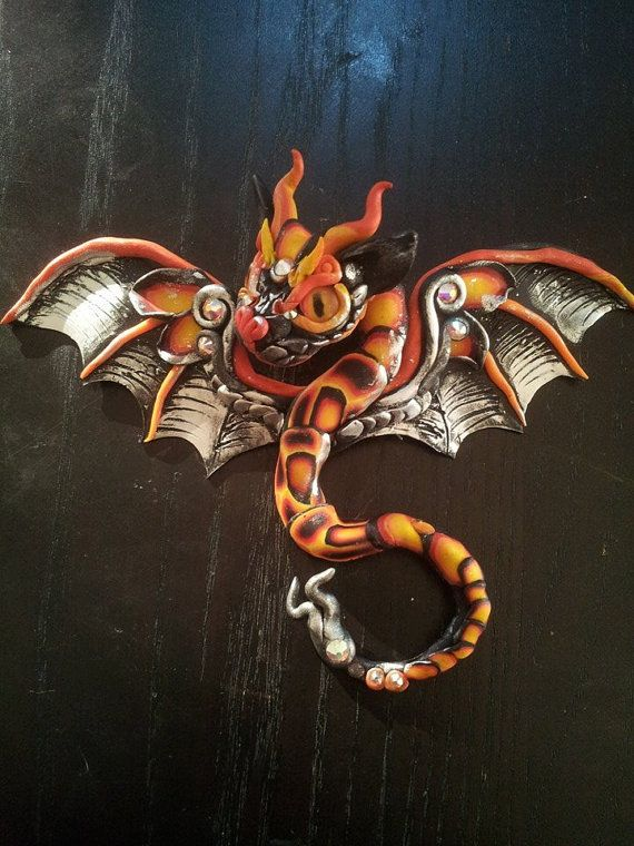 Red Black Hair Pin Dragon by MakoslaCreations on Etsy, $75.00