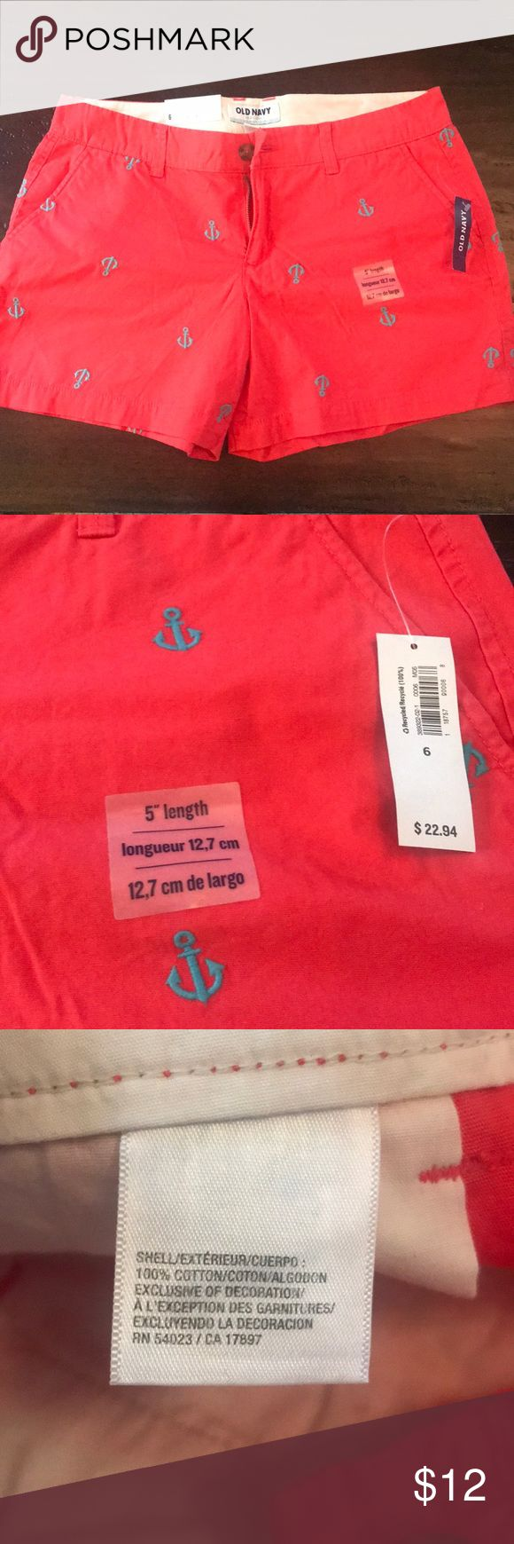 Never been worn anchor shorts! Coral red shorts with turquoise anchors Old Navy Shorts