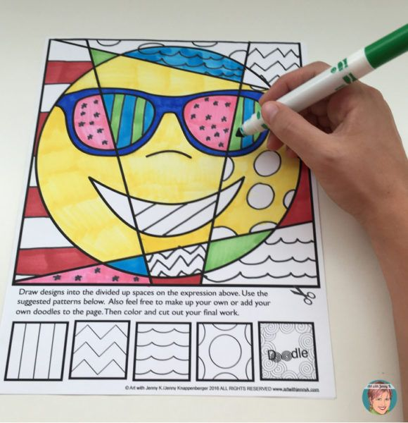 Emoji coloring pages for kids from Art with Jenny K.