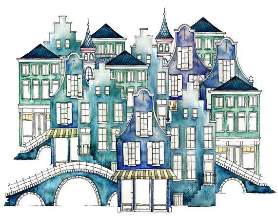 A3 Art Print Illustration, Amsterdam Bridge Blue, 42x29,7 cm, Aquarel and Ink
