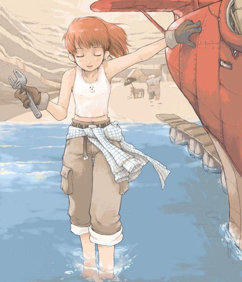Fio the mechanic in Porco Rosso (1992) - Hayao Miyazaki