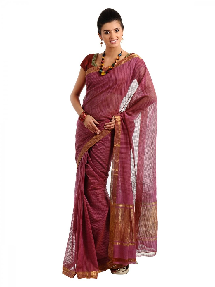 Fabindia Pink Mangalgiri Sari | Myntra