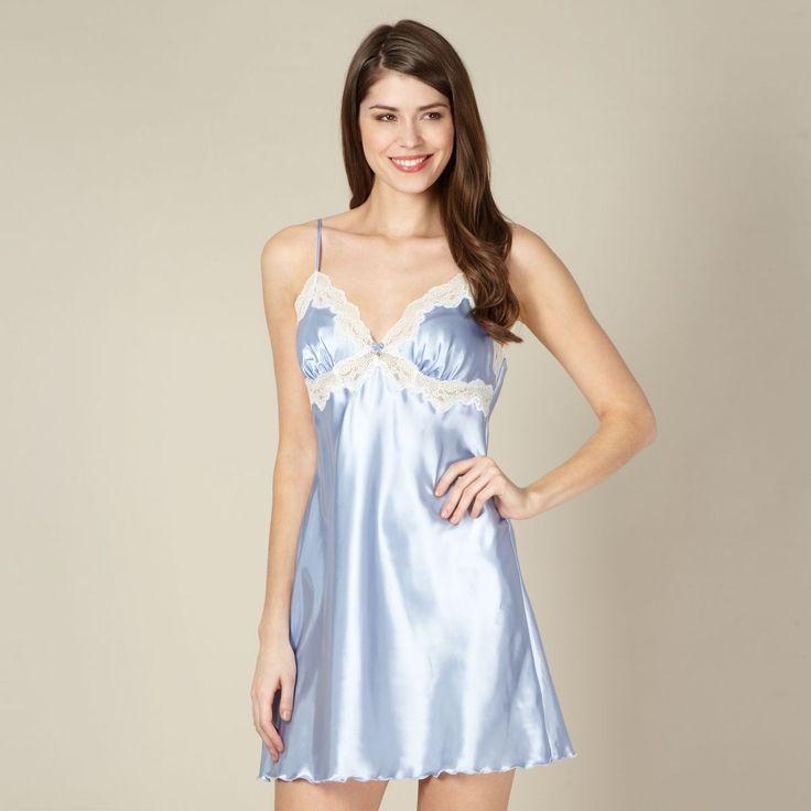 Blue plain satin chemise