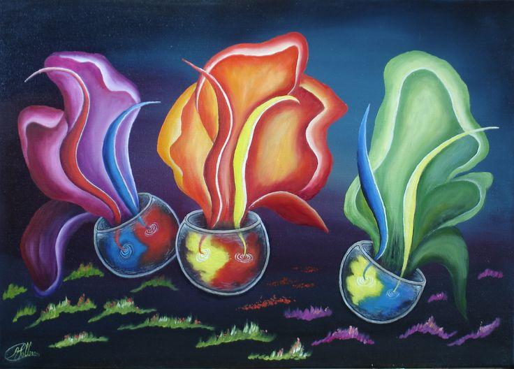 """""""Primaite kleurendans"""" olieverf op doek 70 x 50 cm"""