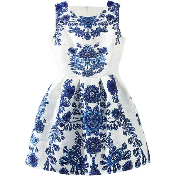Sleeveless Blue And White Porcelain Print Flare Dress ($16) ❤ liked on Polyvore featuring dresses, vestidos, blue, round neck sleeveless dress, flared sleeve dress, print dress, short sleeve dress and blue dress