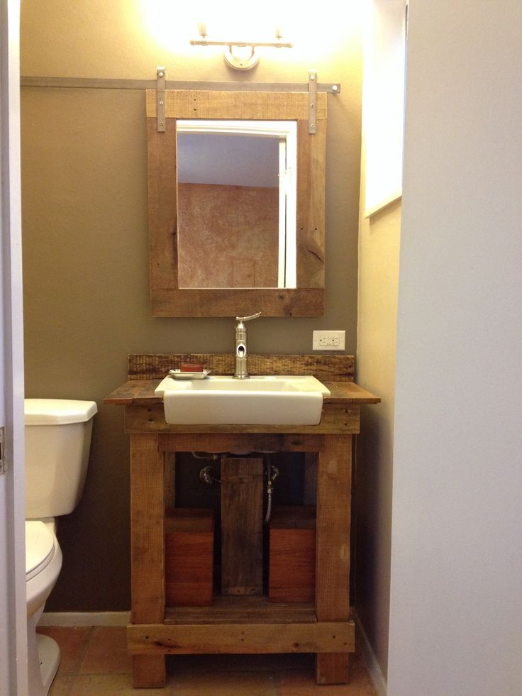 Sink from restore and vanity made from free pallet for Bathroom ideas made from pallets