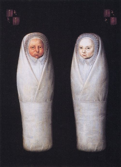 """""""De Wikkkelkinderen"""" or """"The Swaddled Twins"""", artist unknown, painting dated April 7, 1617"""