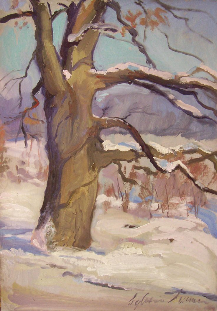 Warm winter day, oil on card