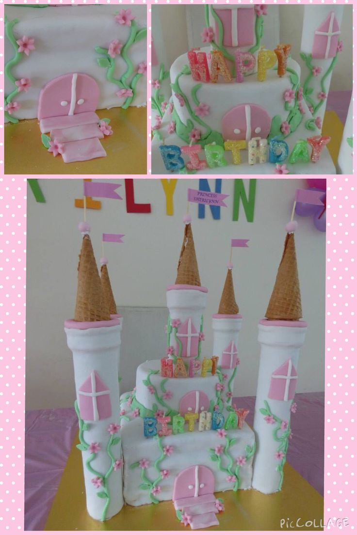 Princess castle cake with 5 towers complete with pink flower creepers.