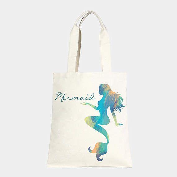 Ivory & Teal Mermaid Cotton Canvas Beach Tote beach bag