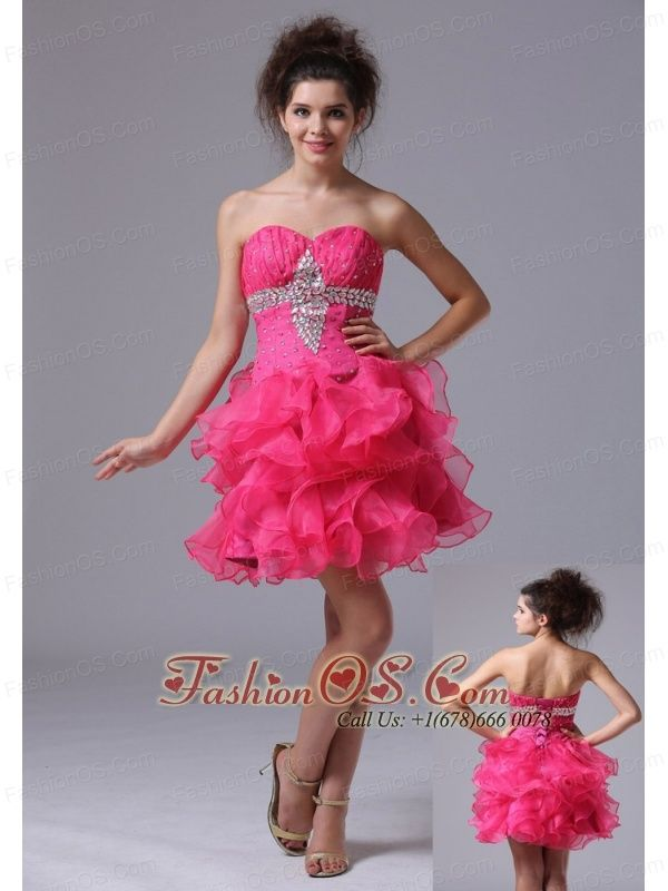 Sweetheart A-Line Mini-length Organza Beading Hot Pink Cocktail Dress  http://www.fashionos.com  http://www.facebook.com/quinceaneradress.fashionos.us   Do you want to experience the feeling of being the spotlight? This pink prom dress will make your dream come ture. It features a strapless bodice with a sweetheart neckline. The ruched bodice is highlighted with the scattered beadings.