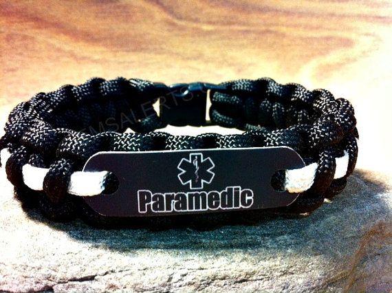 Black Paramedic Paracord Bracelet EMS WEEK Fathers by EMSALERTS, $12.00
