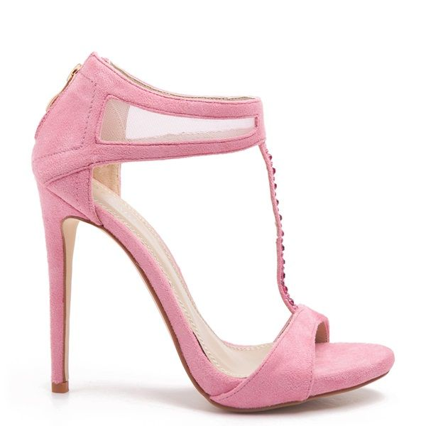 Pink T-strap suede high- heel sandals, embellished with pink rhinestones along the T-strap.