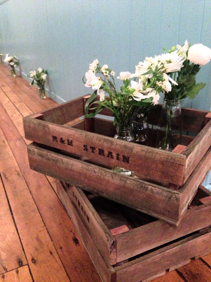 R & H Strain rustic wooden crates hand made by Rowan's sisters' boyfriend.  Random jars and random flower arranging by all the girls.