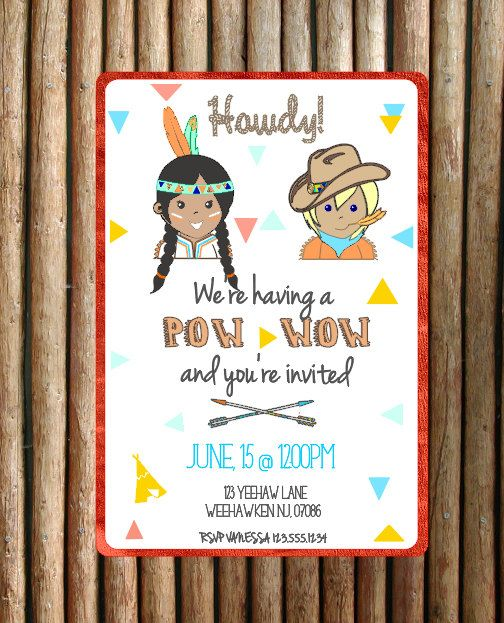 Cowboy and Indian Invitation by VanessaGrantEvents on Etsy, $40.00