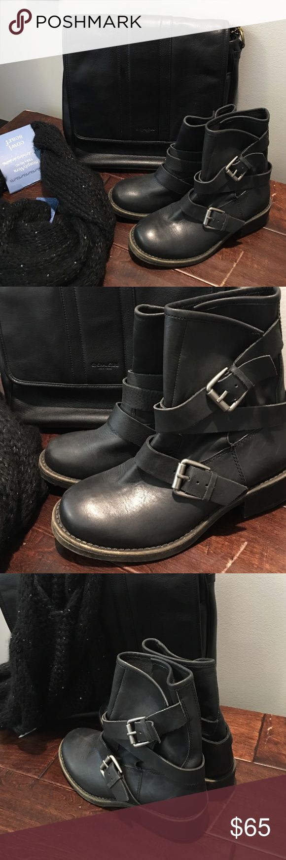 Lucky Brand Black Biker Boot Lucky Brand leather biker boots.  Only worn once.  In great condition. Lucky Brand Shoes Ankle Boots & Booties