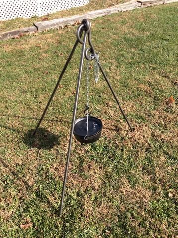A forged iron cooking tripod is an investment worth making. Made from solid iron stock in a gauge heavier than most standard cooking sets, this tripod will serve you for many seasons of good eating. W