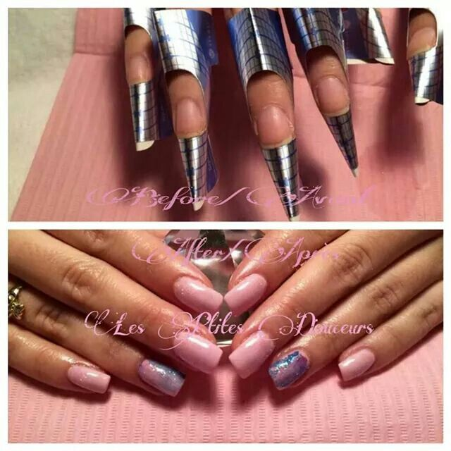 #acrylic #sculpted #nails with #CND #Shellac  before /after