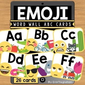 Emoji Word Wall Card Alphabet / ABC headers. This set includes 26 full color…