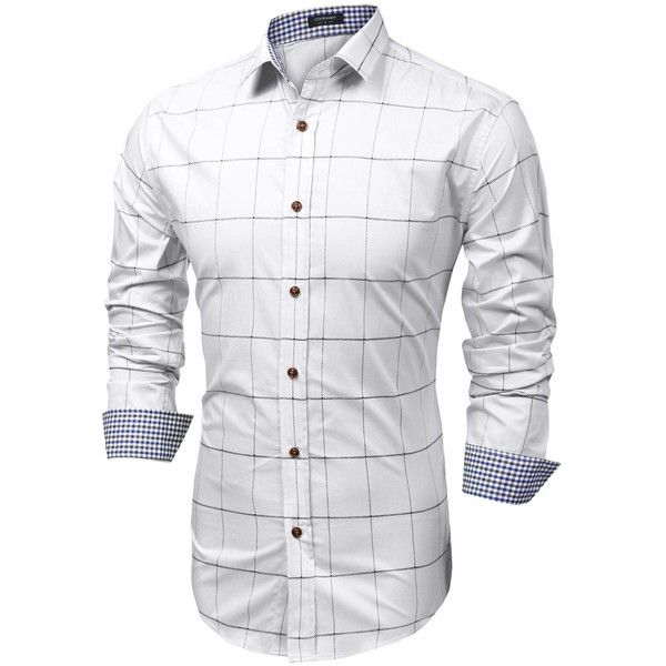 Coofandy Men's Fashion Long Sleeve Plaid Button Down Casual Shirts ($23) ❤ liked on Polyvore featuring men's fashion, men's clothing, men's shirts, men's casual shirts, mens long sleeve button up shirts, mens casual button down shirts, mens button down shirts, mens plaid button down shirts and mens casual long sleeve button down shirts