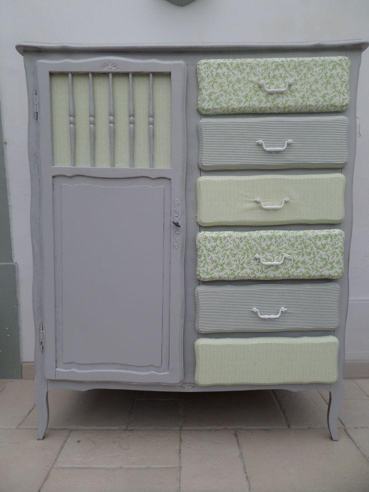 meuble repeint et tiroirs en tissu id es pour la maison. Black Bedroom Furniture Sets. Home Design Ideas