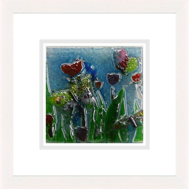 'Summer Blooms l' by Natasha McCullough. This piece has been hand crafted, fused & framed by Spires Art in Omagh. Available in size 24in X 24in.