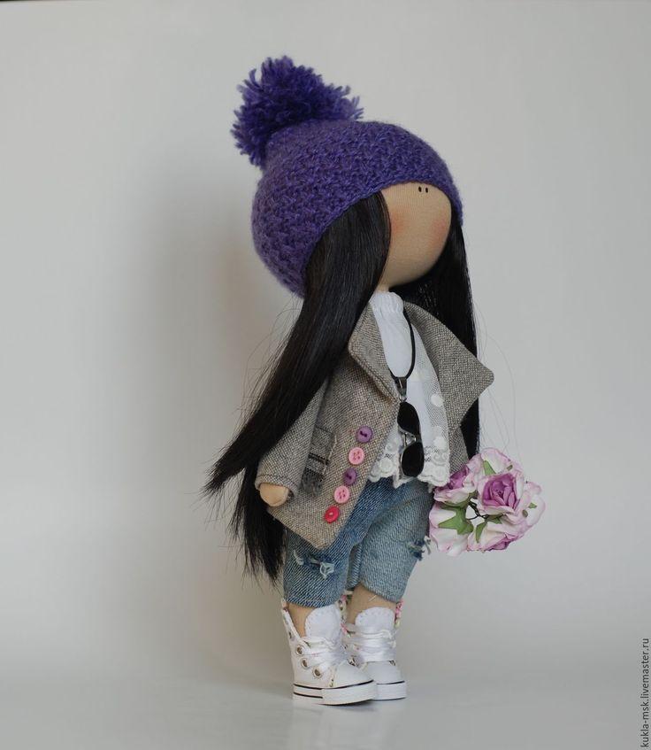 Купить Интерьеная текстильная кукла ручной работы - фиолетовый, кукла ручной работы, кукла в подарок