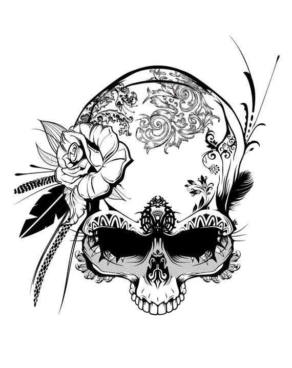 affiche skull amazon queen noir et blanc art print black and white we skulls and art. Black Bedroom Furniture Sets. Home Design Ideas