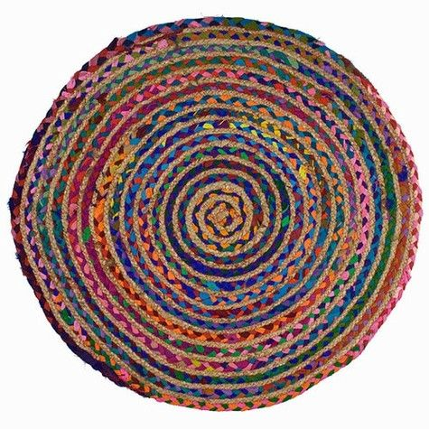 """$25 28"""" Set your inner gypsy free by decorating your rooms in color. Colorful bohemian rainbow throw rug is handmade of row after row of colored braided cotton and hemp"""