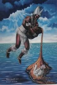 Mito Olorum, Africa: El dios del cielo, pidió a sus hijos que crearan un nuevo reino en el que se extendieran sus descendientes, otorgándole el nombre de Ile-Ife. Olurum lanzó una gran cadena desde el universo donde vivió, siendo las aguas primeras su objetivo, por dicha cadena bajó Oduduwa, portando un puñado de tierra en sus bolsillos, una gallina de cinco dedos y una semilla. Cuando estuvo preparado, Oduduwa arrojó el puñado de tierra sobre las aguas, formándose así su nuevo reino.