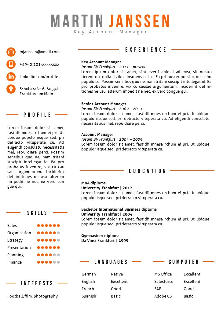 Creative resume template in MS Word. Fully editable, including 2nd page template & matching cover letter template. https://gosumo-cvtemplate.com/product/cv-template-frankfurt/