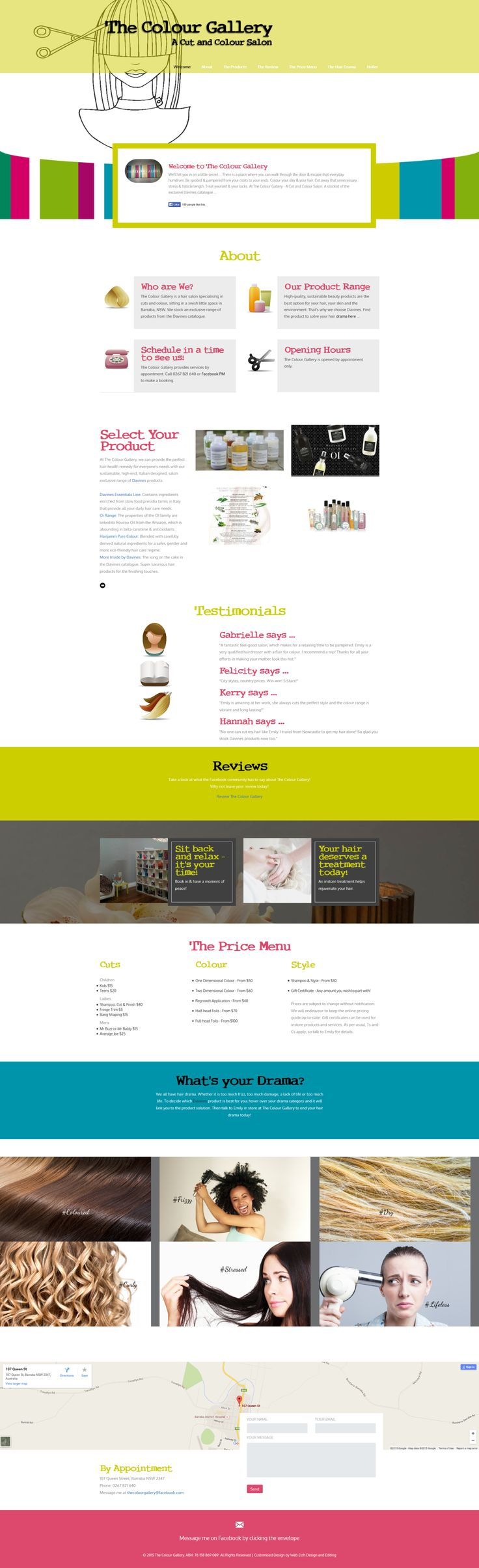 Web Etch Design and Editing - Responsive website for The Colour Gallery (HTML5 & CSS3, JS, Bootstrap)