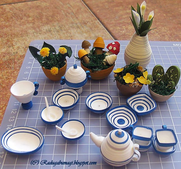 43 best images about quilled mini tea cups and china on for Quilling kitchen set