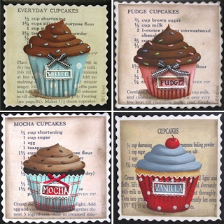 Catherine Holman Folk Art: Cupcake Coasters and a Candy Apple Cupcake Painting
