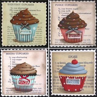 Catherine Holman Folk Art: Cupcake Coasters and a Candy Apple Cupcake Painting