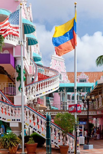 The streets with Dutch architecture in Oranjestad, Aruba, Netherlands Antilles.