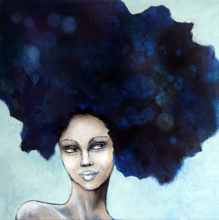 ARTFINDER: Indigo blue by Malin Östlund - Portrait of a woman with indigo blue hair. NOTE: The painting is labeled for sale as not framed, but has a frame of white painted wood strips, with a dept...