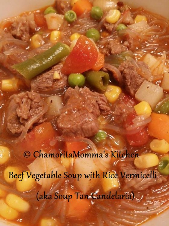 Beef Vegetable Soup with Rice Vermicelli (aka Soup Tan Candelaria from Guam)
