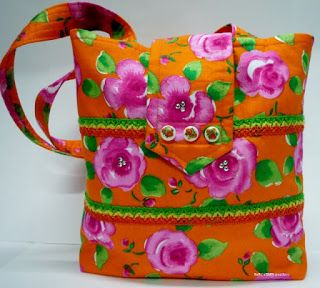 BaRb'n'ShEll Creations-Lace trim Orange with pink roses tote - BaRb