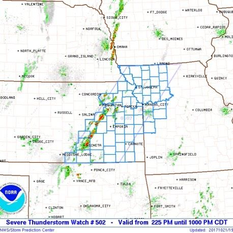 NOAA NWS Storm Prediction Center has issued a Severe thunderstorm watch #502 for Douglas County and the sounding area until 10pm this evening.  Primary threats included damaging wind gusts to 70mph.  Isolated large hail events to 1.5 inches in diameter as well as a tornado or two.  More details: http://ift.tt/MQNXMM