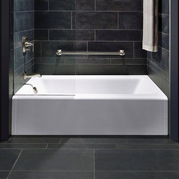 KOHLER Bellwether 5 ft. Left-Hand Drain Cast-Iron Soaking Tub in White ...