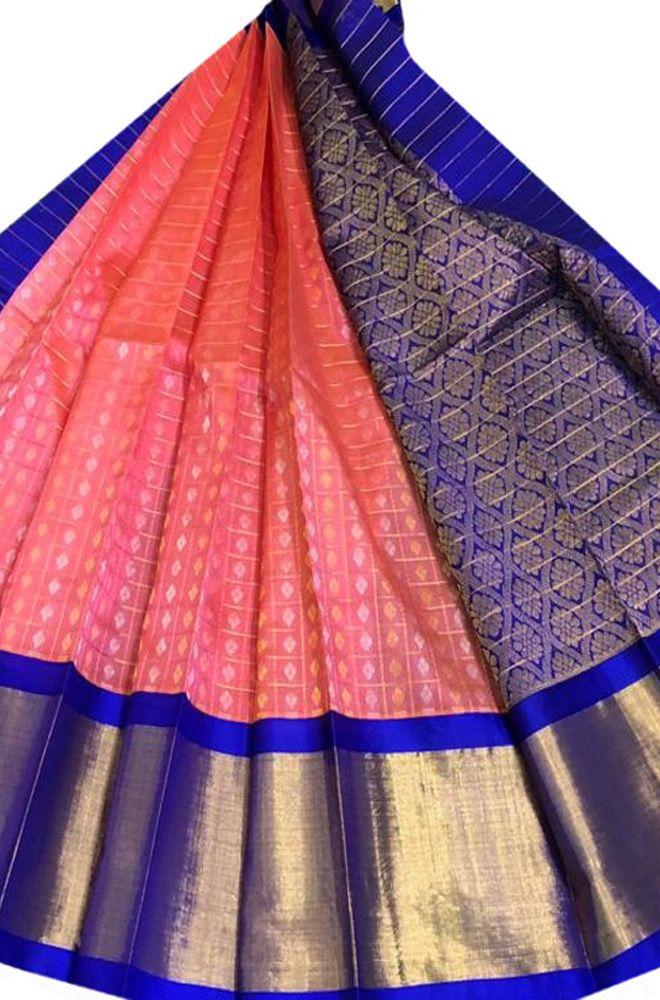 Buy online Pink Handloom Kuppadam Checks Small Booti Silk Saree With