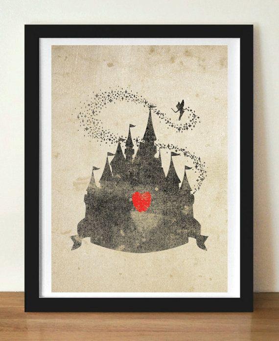 Disney Castle Inspired Silhouette: 5X7 Art Print, With Heart Studios - Disney, Nursery, Poster, Vintage, Gift