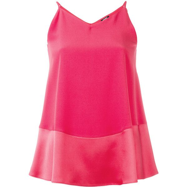 Jil Sander Navy cami top (900 BRL) ❤ liked on Polyvore featuring tops, red, pink camisole, red cami top, pink top, pink tank and pink cami top