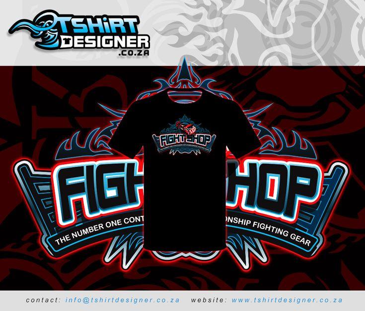 T-shirt design mockup for Fight Shop T-shirts
