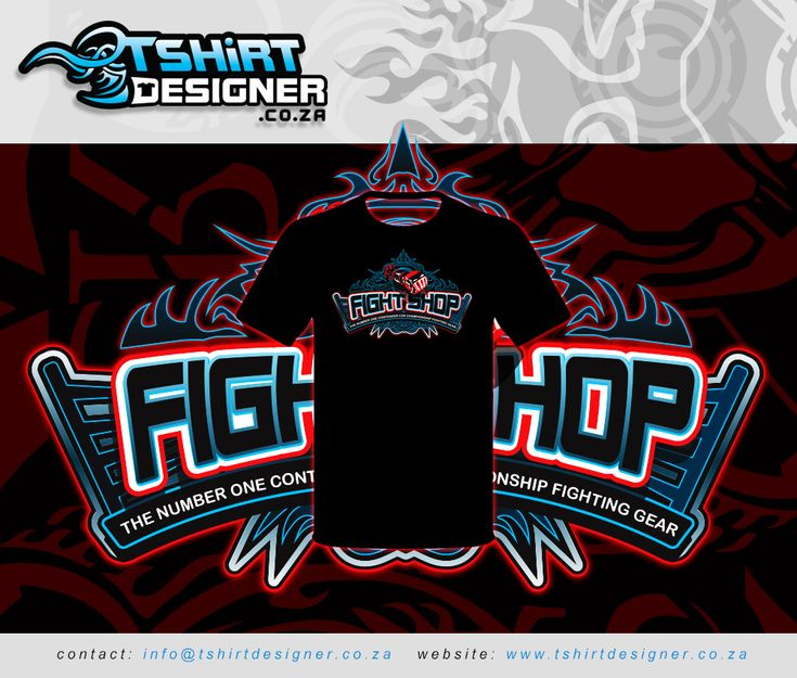 T-shirt design mockup for Fight Shop T-shirts
